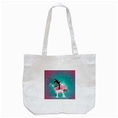 Orca Jumping Out Of A Flower With Waterfalls Tote Bag (white)  by FantasyWorld7