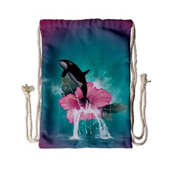 Orca Jumping Out Of A Flower With Waterfalls Drawstring Bag (small) by FantasyWorld7