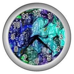 Strange Abstract 1 Wall Clocks (silver)  by MoreColorsinLife
