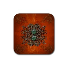 Wonderful Floral Elements On Soft Red Background Rubber Square Coaster (4 Pack)  by FantasyWorld7