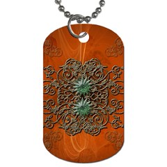 Wonderful Floral Elements On Soft Red Background Dog Tag (two Sides) by FantasyWorld7