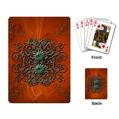 Wonderful Floral Elements On Soft Red Background Playing Card by FantasyWorld7