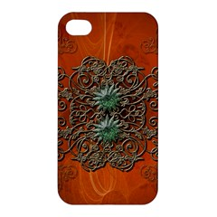 Wonderful Floral Elements On Soft Red Background Apple Iphone 4/4s Premium Hardshell Case by FantasyWorld7
