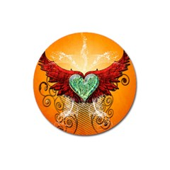 Beautiful Heart Made Of Diamond With Wings And Floral Elements Magnet 3  (round) by FantasyWorld7