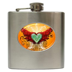 Beautiful Heart Made Of Diamond With Wings And Floral Elements Hip Flask (6 Oz) by FantasyWorld7