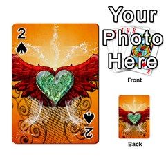 Beautiful Heart Made Of Diamond With Wings And Floral Elements Playing Cards 54 Designs