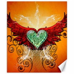 Beautiful Heart Made Of Diamond With Wings And Floral Elements Canvas 8  X 10  by FantasyWorld7