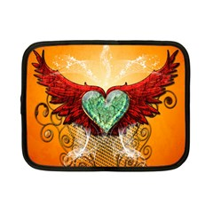 Beautiful Heart Made Of Diamond With Wings And Floral Elements Netbook Case (small)