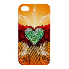 Beautiful Heart Made Of Diamond With Wings And Floral Elements Apple Iphone 4/4s Hardshell Case by FantasyWorld7