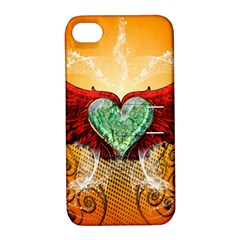 Beautiful Heart Made Of Diamond With Wings And Floral Elements Apple Iphone 4/4s Hardshell Case With Stand by FantasyWorld7