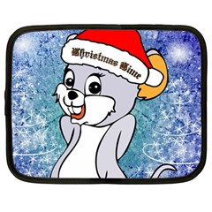 Funny Cute Christmas Mouse With Christmas Tree And Snowflakses Netbook Case (large)	 by FantasyWorld7