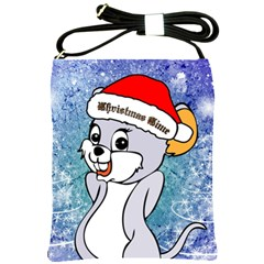 Funny Cute Christmas Mouse With Christmas Tree And Snowflakses Shoulder Sling Bags by FantasyWorld7