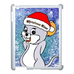 Funny Cute Christmas Mouse With Christmas Tree And Snowflakses Apple Ipad 3/4 Case (white) by FantasyWorld7