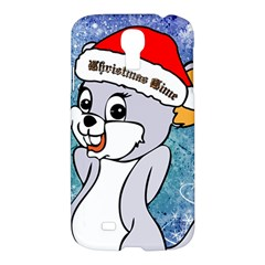 Funny Cute Christmas Mouse With Christmas Tree And Snowflakses Samsung Galaxy S4 I9500/i9505 Hardshell Case by FantasyWorld7