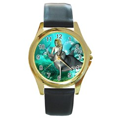 Beautiful Mermaid With  Dolphin With Bubbles And Water Splash Round Gold Metal Watches