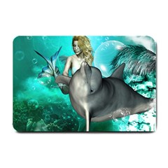 Beautiful Mermaid With  Dolphin With Bubbles And Water Splash Small Doormat  by FantasyWorld7