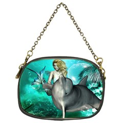 Beautiful Mermaid With  Dolphin With Bubbles And Water Splash Chain Purses (one Side)  by FantasyWorld7