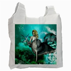 Beautiful Mermaid With  Dolphin With Bubbles And Water Splash Recycle Bag (one Side) by FantasyWorld7
