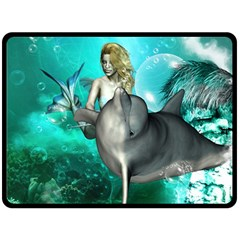 Beautiful Mermaid With  Dolphin With Bubbles And Water Splash Fleece Blanket (large)  by FantasyWorld7