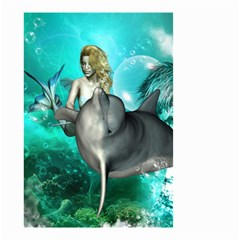 Beautiful Mermaid With  Dolphin With Bubbles And Water Splash Small Garden Flag (two Sides) by FantasyWorld7