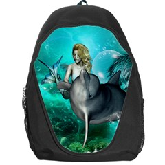 Beautiful Mermaid With  Dolphin With Bubbles And Water Splash Backpack Bag by FantasyWorld7