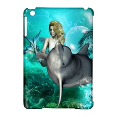 Beautiful Mermaid With  Dolphin With Bubbles And Water Splash Apple Ipad Mini Hardshell Case (compatible With Smart Cover) by FantasyWorld7