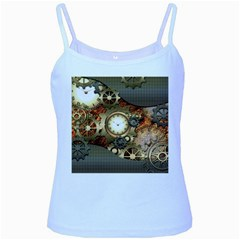 Steampunk, Wonderful Steampunk Design With Clocks And Gears In Golden Desing Baby Blue Spaghetti Tanks by FantasyWorld7