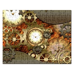 Steampunk, Wonderful Steampunk Design With Clocks And Gears In Golden Desing Rectangular Jigsaw Puzzl by FantasyWorld7