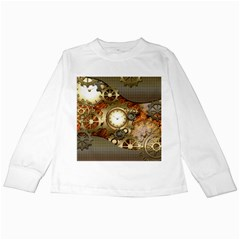 Steampunk, Wonderful Steampunk Design With Clocks And Gears In Golden Desing Kids Long Sleeve T Shirts by FantasyWorld7