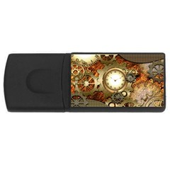 Steampunk, Wonderful Steampunk Design With Clocks And Gears In Golden Desing Usb Flash Drive Rectangular (4 Gb)  by FantasyWorld7