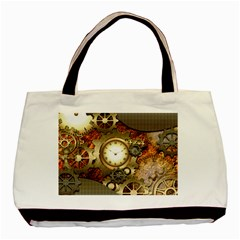 Steampunk, Wonderful Steampunk Design With Clocks And Gears In Golden Desing Basic Tote Bag  by FantasyWorld7
