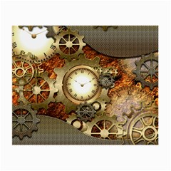 Steampunk, Wonderful Steampunk Design With Clocks And Gears In Golden Desing Small Glasses Cloth (2-side) by FantasyWorld7
