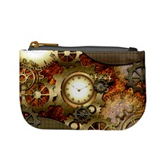 Steampunk, Wonderful Steampunk Design With Clocks And Gears In Golden Desing Mini Coin Purses