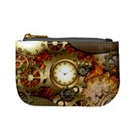 Steampunk, Wonderful Steampunk Design With Clocks And Gears In Golden Desing Mini Coin Purses Front