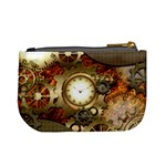 Steampunk, Wonderful Steampunk Design With Clocks And Gears In Golden Desing Mini Coin Purses Back