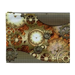 Steampunk, Wonderful Steampunk Design With Clocks And Gears In Golden Desing Cosmetic Bag (xl) by FantasyWorld7