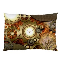 Steampunk, Wonderful Steampunk Design With Clocks And Gears In Golden Desing Pillow Cases (two Sides) by FantasyWorld7