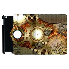 Steampunk, Wonderful Steampunk Design With Clocks And Gears In Golden Desing Apple Ipad 3/4 Flip 360 Case by FantasyWorld7