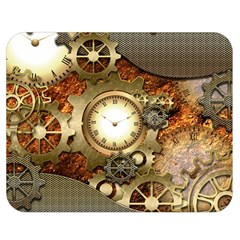 Steampunk, Wonderful Steampunk Design With Clocks And Gears In Golden Desing Double Sided Flano Blanket (medium)