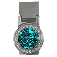Teal On Black Funky Fractal Money Clips (cz)  by KirstenStar