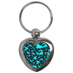 Teal On Black Funky Fractal Key Chains (heart)  by KirstenStar