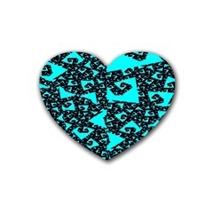 Teal On Black Funky Fractal Rubber Coaster (heart)  by KirstenStar