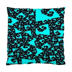 Teal On Black Funky Fractal Standard Cushion Case (one Side)  by KirstenStar