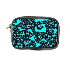 Teal On Black Funky Fractal Coin Purse by KirstenStar