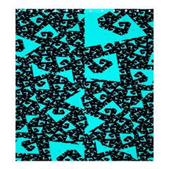 Teal On Black Funky Fractal Shower Curtain 66  X 72  (large)  by KirstenStar