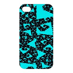 Teal On Black Funky Fractal Apple Iphone 4/4s Hardshell Case by KirstenStar