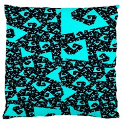 Teal On Black Funky Fractal Standard Flano Cushion Cases (two Sides)