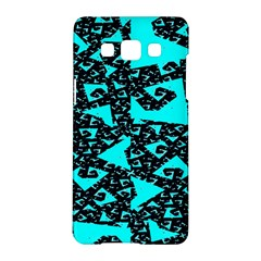 Teal On Black Funky Fractal Samsung Galaxy A5 Hardshell Case  by KirstenStar