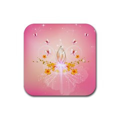 Wonderful Flowers With Butterflies And Diamond In Soft Pink Colors Rubber Square Coaster (4 Pack)  by FantasyWorld7