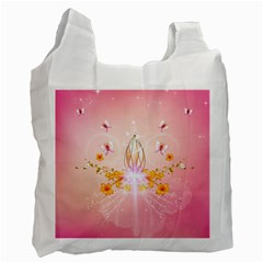 Wonderful Flowers With Butterflies And Diamond In Soft Pink Colors Recycle Bag (one Side) by FantasyWorld7